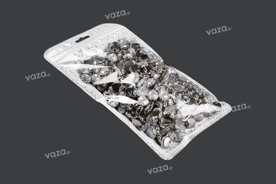 Sachet avec fermeture à glissière et trou de suspension « européenne », non tissé à l'arrière et transparent au devant 135X245mm- paquet de 50 pièces