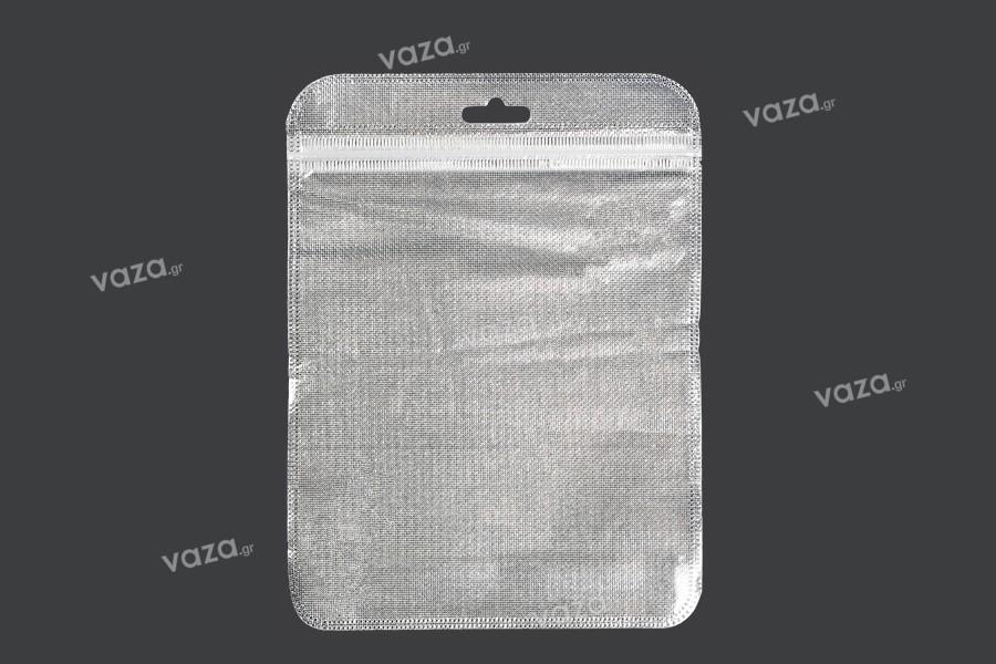 Σακουλάκια με κλείσιμο zip 150x200 mm, non woven ασημί πίσω όψη, διάφανο μπροστά και τρύπα eurohole - 100 τμχ