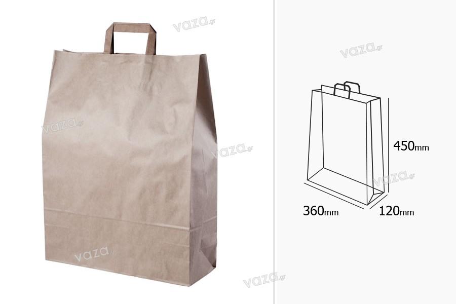 Σακούλα χάρτινη με χερούλι σε γήινο χρώμα και διαστάσεις 360x125x470 mm - 25 τμχ