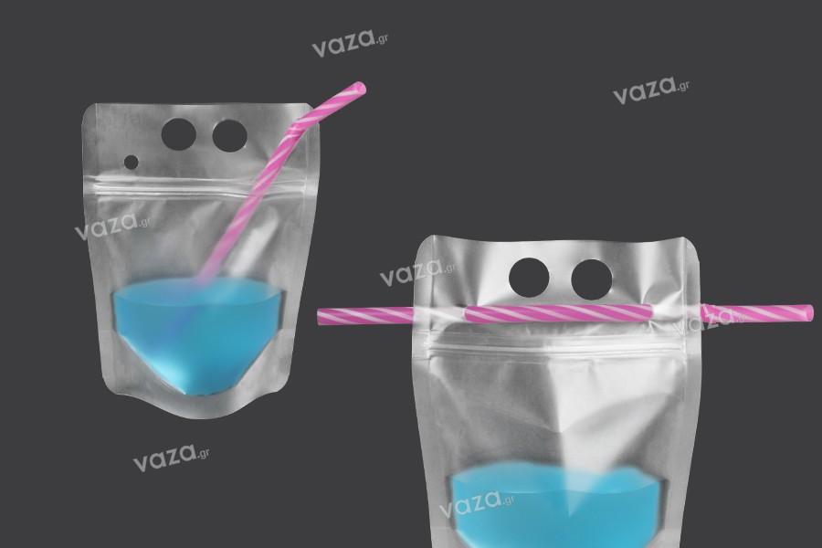 Συσκευασία τύπου Doy Pack 250 ml διάφανη με κλείσιμο zip και τρύπες για καλαμάκι και μεταφορά - 50 τμχ