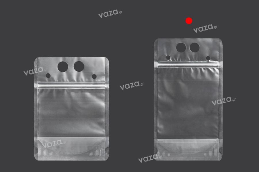 Συσκευασία τύπου Doy Pack 500 ml διάφανη με κλείσιμο zip και τρύπες για καλαμάκι και μεταφορά - 50 τμχ