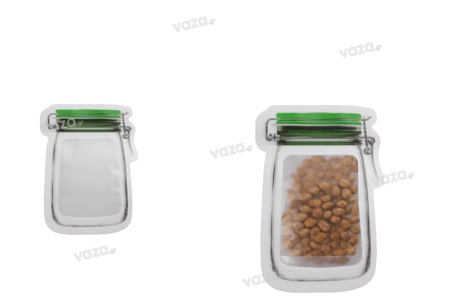 """Σακουλάκια τύπου Doy Pack σε σχήμα βάζου 75x110 με κλείσιμο """"zip"""" - 50 τμχ"""