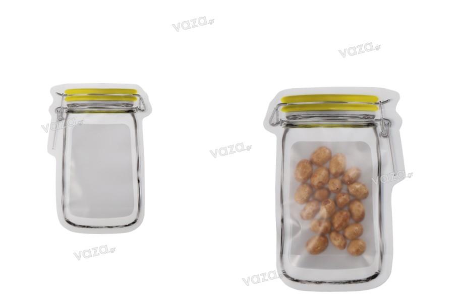 """Σακουλάκια τύπου Doy Pack σε σχήμα βάζου 107x150 με κλείσιμο """"zip"""" - 50 τμχ"""