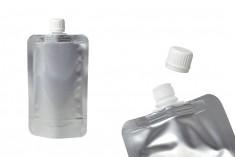 Συσκευασία (ασκός) αλουμινίου τύπου Doy Pack 200 ml με λευκό καπάκι - 50 τμχ