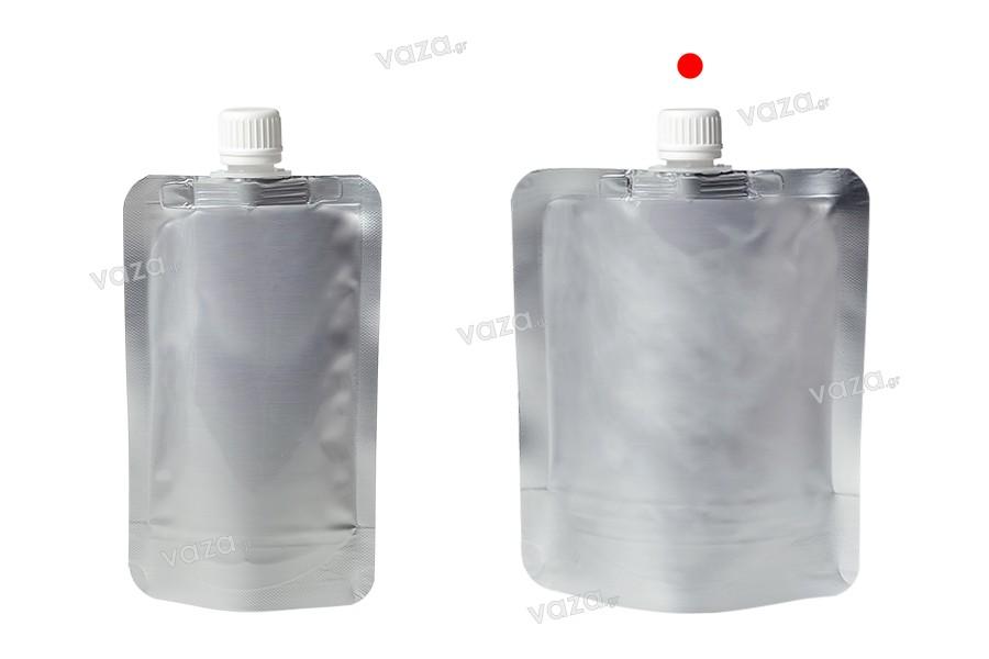 Συσκευασία (ασκός) αλουμινίου τύπου Doy Pack 300 ml με λευκό καπάκι - 50 τμχ