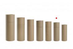 Κουτάκι καφέ κραφτ (εσωτερικά λευκό) κυλινδρικό 40x116 mm για μπουκαλάκια - 12 τμχ