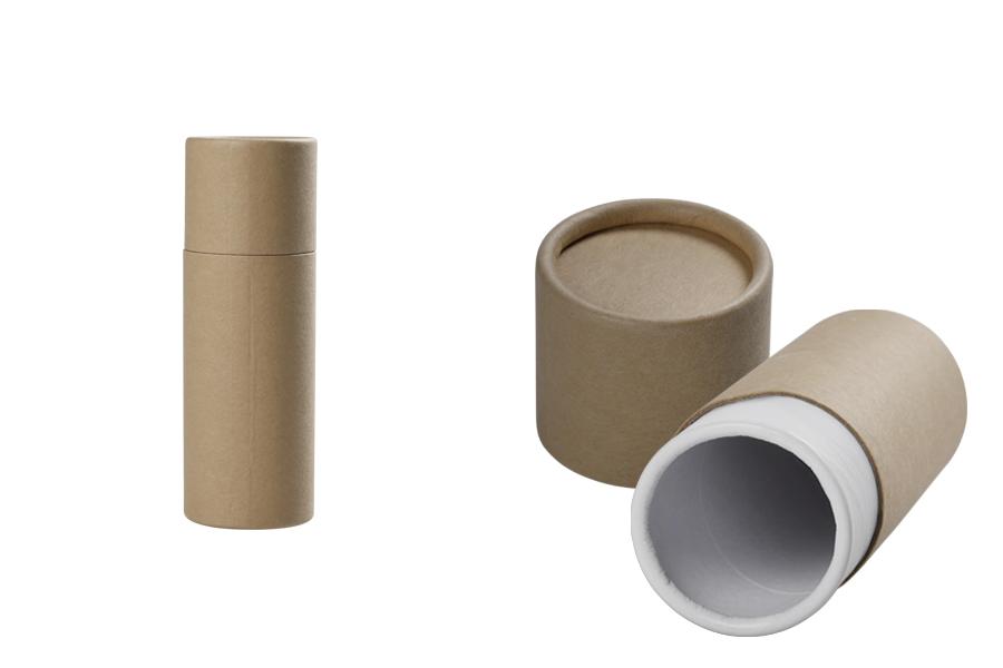 Κουτάκι καφέ κραφτ (εσωτερικά λευκό) κυλινδρικό 46x134 mm για μπουκαλάκια - 12 τμχ