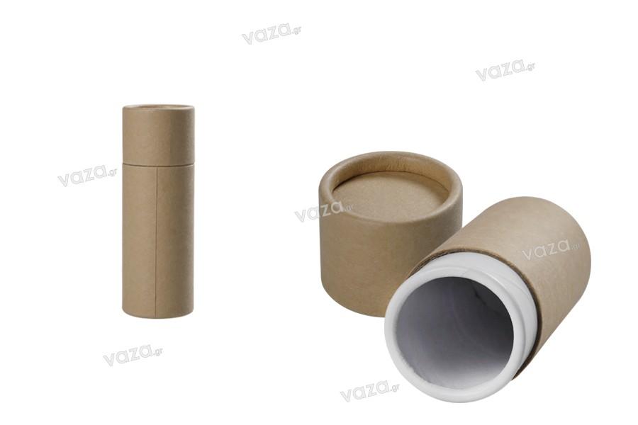 Κουτάκι καφέ κραφτ (εσωτερικά λευκό) κυλινδρικό 36x102 mm για μπουκαλάκια - 12 τμχ