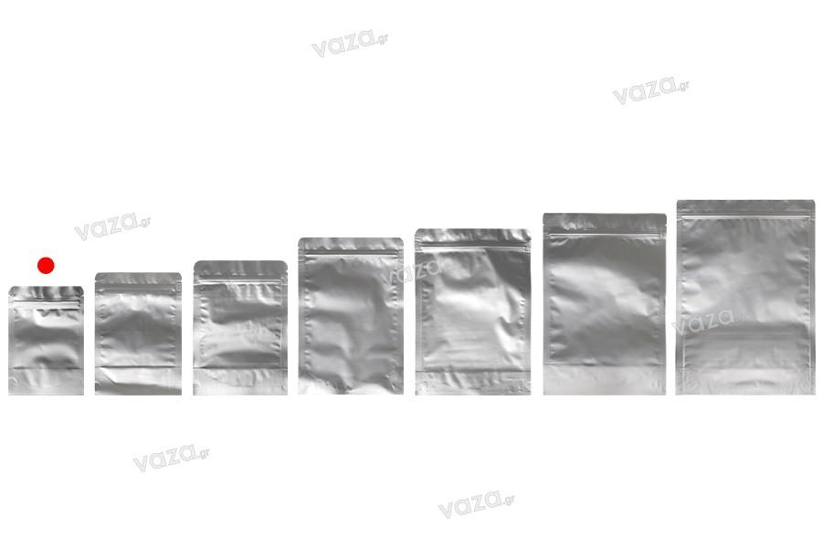 """Σακουλάκια αλουμινίου τύπου Doy Pack 90x30x130 mm με κλείσιμο """"zip"""" και δυνατότητα σφράγισης με θερμοκόλληση  - 100 τμχ"""