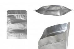 """Σακουλάκια αλουμινίου τύπου Doy Pack 140x40x200 mm με κλείσιμο """"zip"""" και δυνατότητα σφράγισης με θερμοκόλληση  - 100 τμχ"""