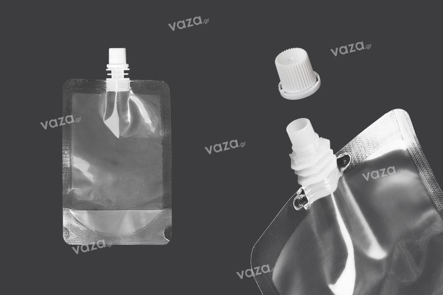 Συσκευασία (ασκός) τύπου Doy Pack διάφανη 200 ml με λευκό καπάκι