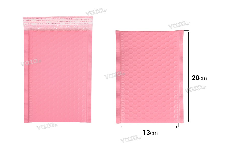 Φάκελοι με αεροπλάστ 13x20 cm σε ροζ ματ χρώμα - 10 τμχ