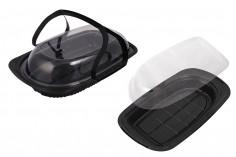 Συσκευασία (σκεύος) πλαστική 430x252x90 mm με χερούλι και καπάκι - 12 τμχ