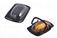 Συσκευασία (σκεύος) πλαστική 268x173x82 mm με χερούλι και καπάκι - 12 τμχ