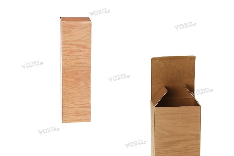 """Χάρτινο κουτάκι με τύπωμα σχέδιο """"ξύλου"""" 46x46x160 - 50 τμχ"""