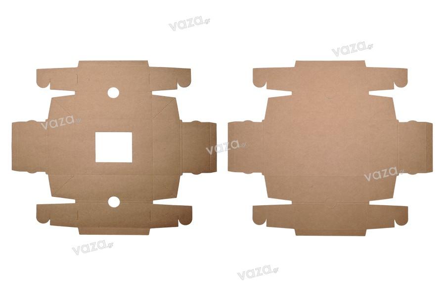 Κουτί συσκευασίας από χαρτί κραφτ με παράθυρο 170x130x60 mm - 20τμχ
