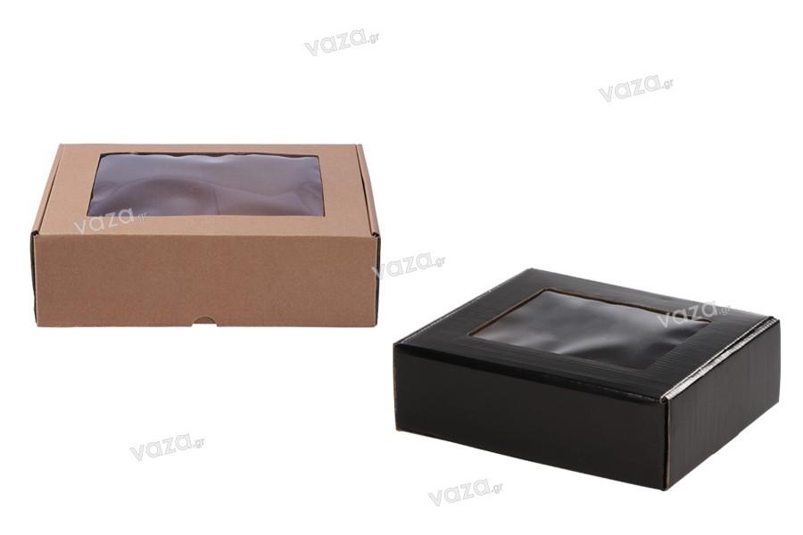 Κουτί συσκευασίας από χαρτί κραφτ με παράθυρο 240x180x70 mm - 20 τμχ