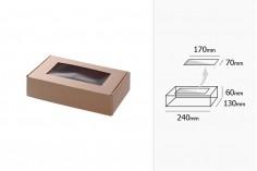 Κουτί συσκευασίας από χαρτί κραφτ με παράθυρο 240x130x60 mm - 20 τμχ