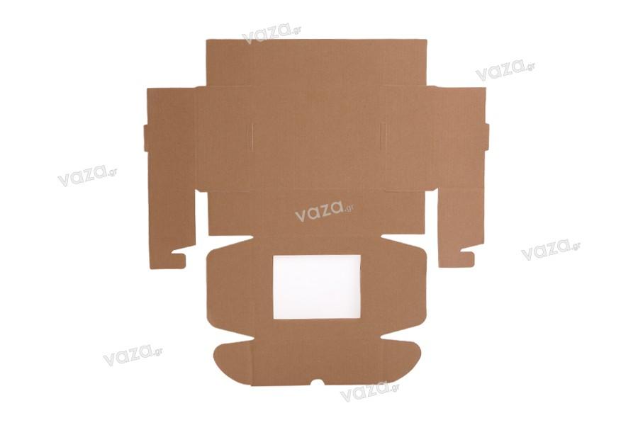 Κουτί συσκευασίας από χαρτί κραφτ με παράθυρο 170x130x60 mm - Συσκευασία 20τμχ