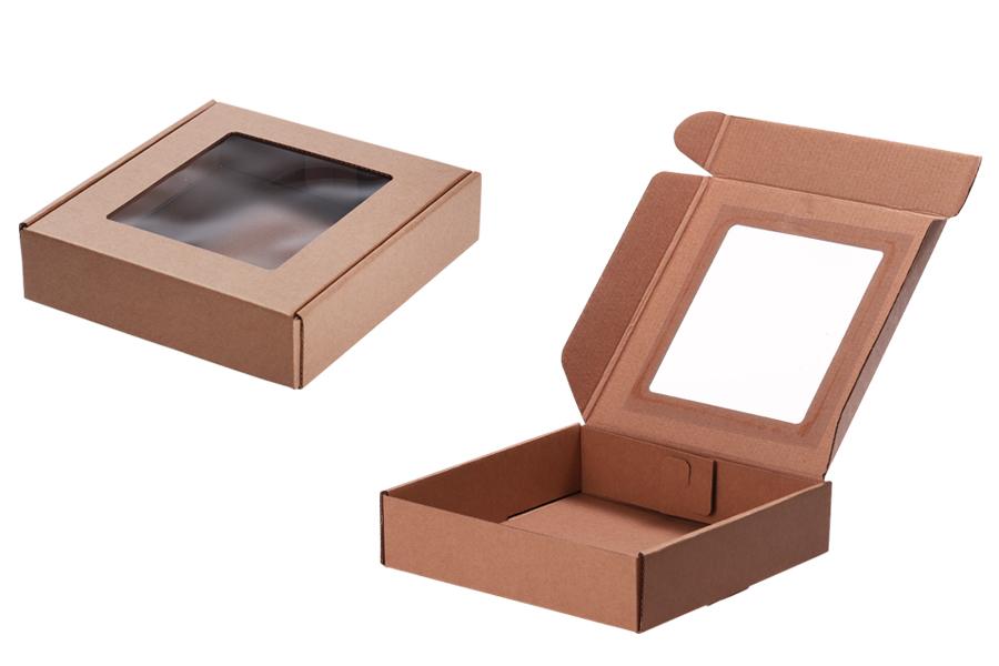Boîte d'emballage Kraft avec fenêtre de 210x210x50 mm - 20pcs