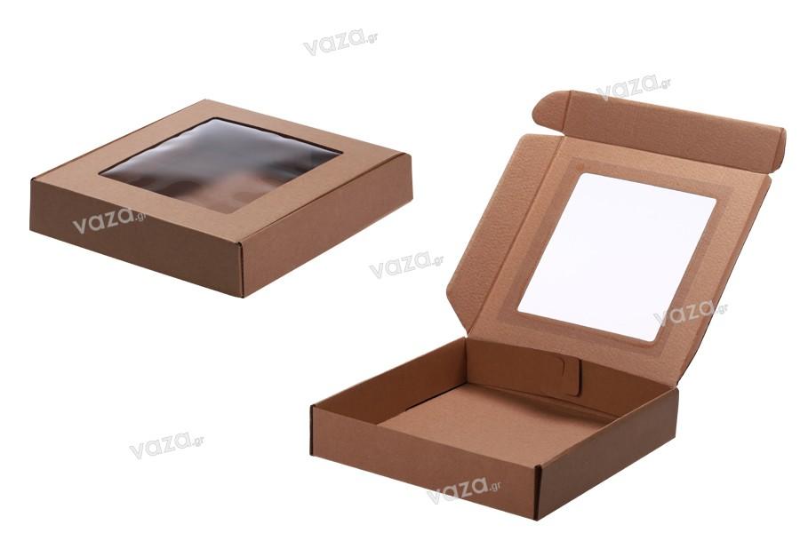 Κουτί συσκευασίας από χαρτί κραφτ με παράθυρο 250x250x50 mm - Συσκευασία 20 τμχ