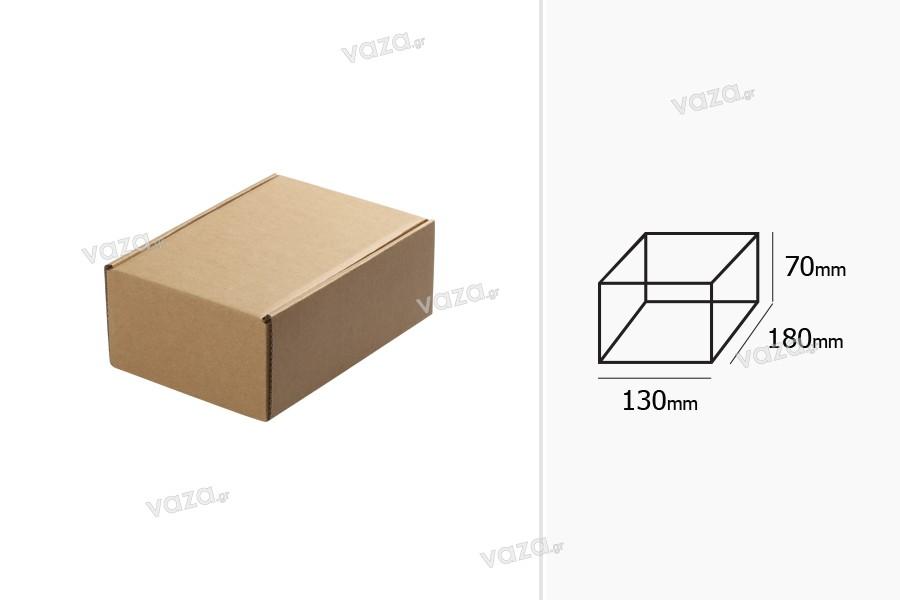 Κουτί συσκευασίας από χαρτί κραφτ χωρίς παράθυρο 130x180x70 mm - 20 τμχ
