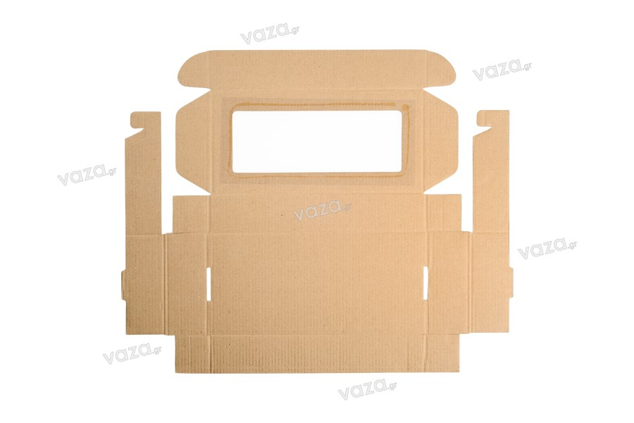 Κουτί συσκευασίας από χαρτί κραφτ με παράθυρο 280x130x50 mm - 20 τμχ