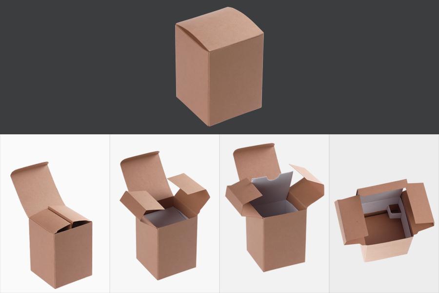 Boîte de papier kraft de 70x70x95 mm avec côté extérieur brun et intérieur blanc - 50 pcs