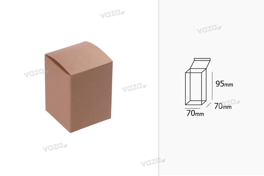 Κουτάκι συσκευασίας από χαρτί κραφτ 70x70x95 mm με καφέ έξω πλευρά και λευκό εσωτερικά - 50 τμχ