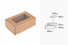 Κουτί συσκευασίας συρταρωτό από χαρτί κραφτ με παράθυρο 185x120x65 mm - 20 τμχ