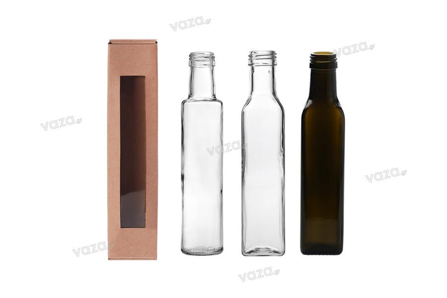 Κουτάκι χάρτινο κράφτ με παράθυρο 55x55x250 mm - 20 τμχ