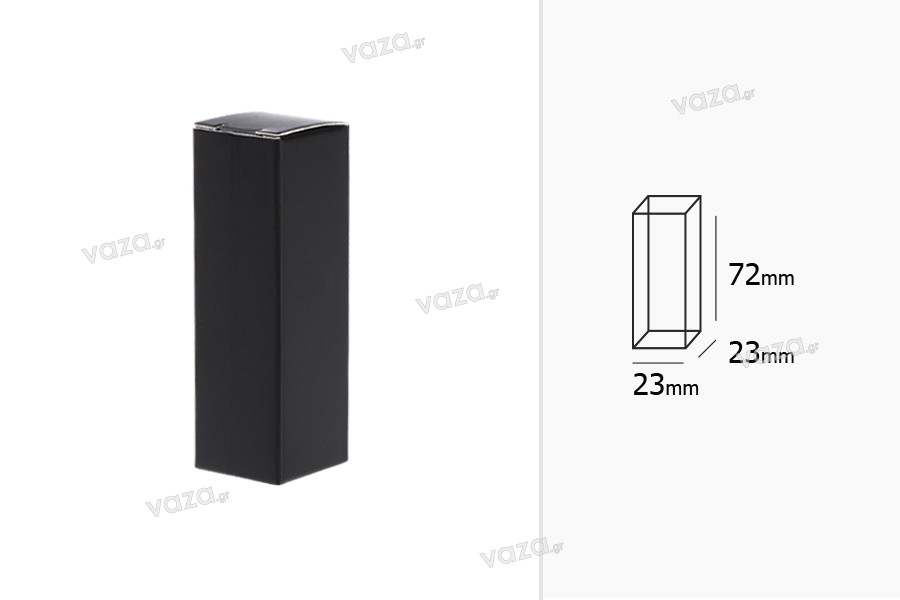 Χάρτινο κουτάκι 23x23x72 mm σε μαύρο χρώμα - 50 τμχ