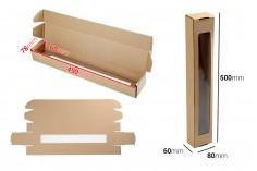 Boîte en papier kraft avec fenêtre 80x60x500 mm - 20 pcs