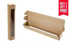 Boîte en papier artisanal avec fenêtre 80x60x500 mm - 20 pcs