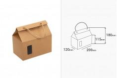 Κουτί - τσαντάκι κραφτ με παράθυρο και κορδόνι 200x120x180 - 20 τμχ