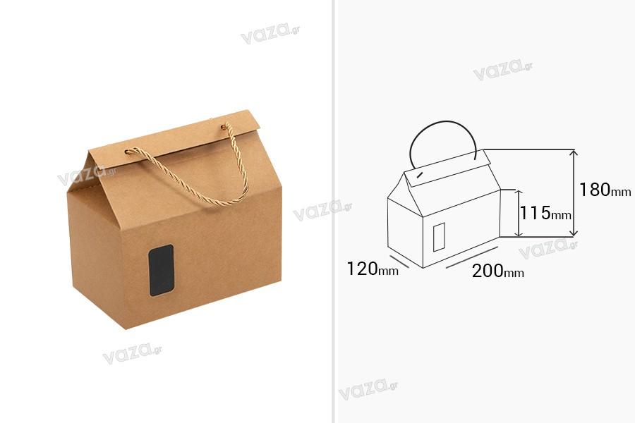 Κουτί - τσαντάκι κραφτ με παράθυρο και κορδόνι 200x120x115 - 20 τμχ