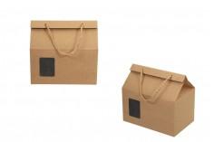 Κουτί - τσαντάκι κραφτ με παράθυρο και κορδόνι 220x140x130 - 20 τμχ