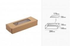 Κουτί συσκευασίας 280x100x50 mm από χαρτί κραφτ με παράθυρο  - 20 τμχ