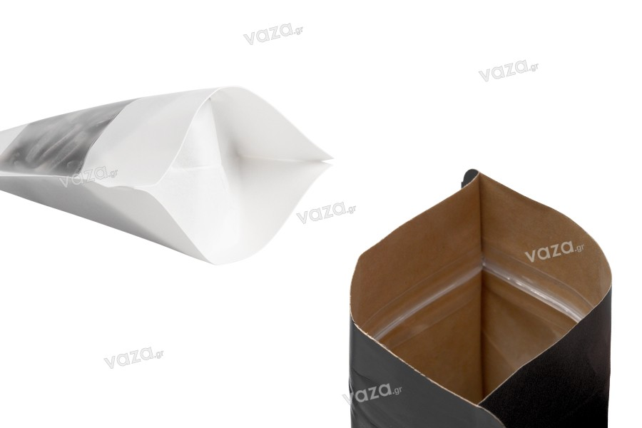 """Σακουλάκια κραφτ τύπου Doy Pack, με κλείσιμο """"zip"""", παράθυρο και δυνατότητα σφράγισης με θερμοκόλληση 100x35x150 mm - 100 τμχ"""