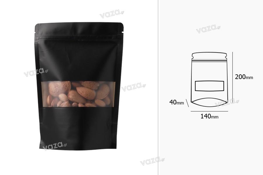 """Σακουλάκια κραφτ τύπου Doy Pack, με κλείσιμο """"zip"""", παράθυρο και δυνατότητα σφράγισης με θερμοκόλληση 140x40x200 mm - 100 τμχ"""