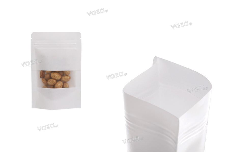 Σακουλάκια κραφτ τύπου Doy Pack σε λευκό χρώμα, με κλείσιμο zip, παράθυρο και δυνατότητα σφράγισης με θερμοκόλληση 90x30x140 mm - 50 τμχ