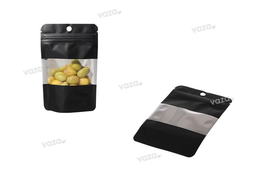 """Σακουλάκια αλουμινίου τύπου Doy Pack, με κλείσιμο """"zip"""", παράθυρο και δυνατότητα σφράγισης με θερμοκόλληση 90x30x140 mm - 100 τμχ"""
