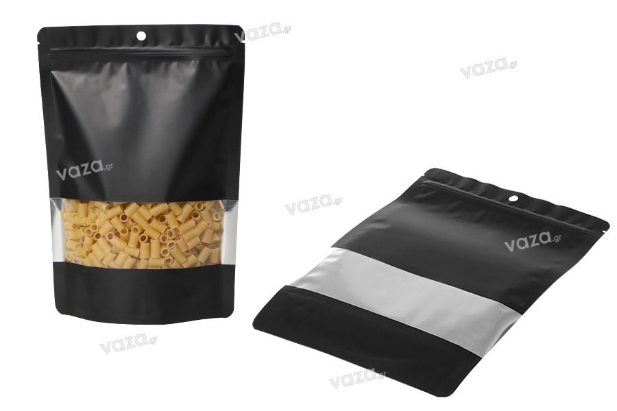 """Σακουλάκια αλουμινίου τύπου Doy Pack, με κλείσιμο """"zip"""", παράθυρο και δυνατότητα σφράγισης με θερμοκόλληση 180x40x260 mm - 100 τμχ"""