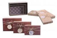 Boîte cadeaux en papier avec nœud et ruban suède S-M-L
