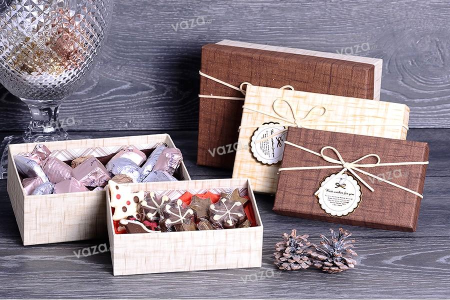Κουτάκι για δώρο χάρτινο με κορδόνι suede S-M-L