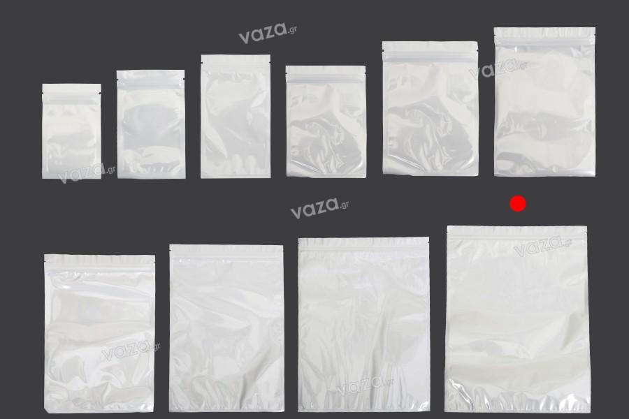 Σακουλάκια πλαστικά 300x400 mm με κλείσιμο zip, λευκή πίσω όψη και διάφανο μπροστά - 100 τμχ
