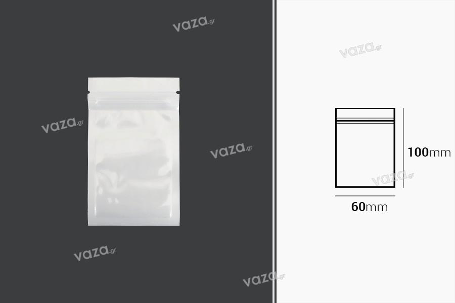 Σακουλάκια πλαστικά 60x100 mm με κλείσιμο zip, λευκή πίσω όψη και διάφανο μπροστά - 100 τμχ
