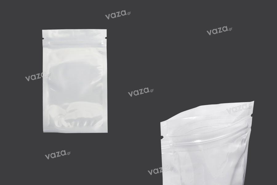 Σακουλάκια πλαστικά 80x130 mm με κλείσιμο zip, λευκή πίσω όψη και διάφανο μπροστά - 100 τμχ