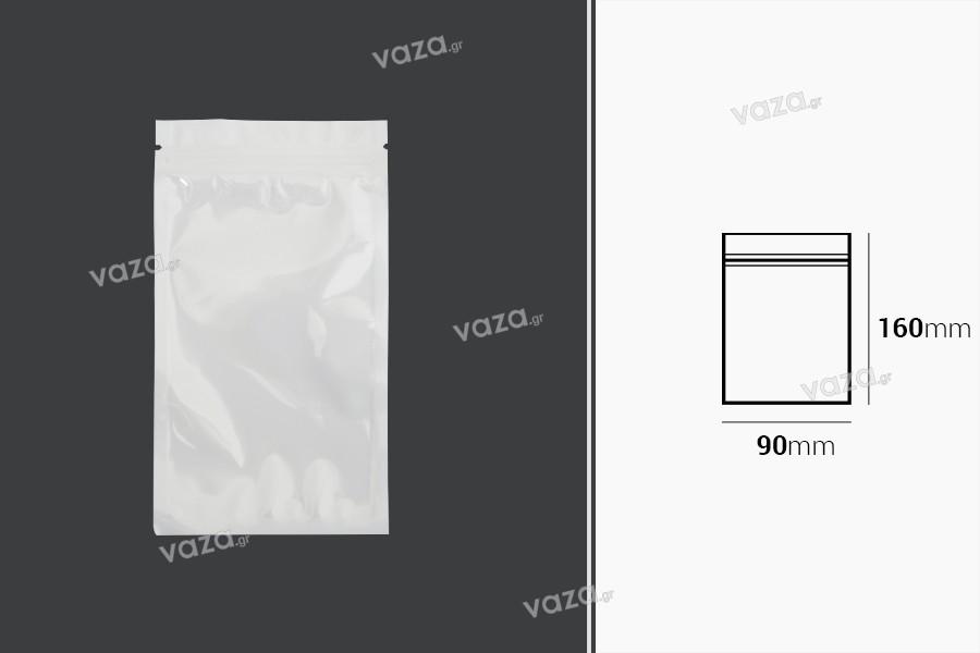 Σακουλάκια πλαστικά 90x160 mm με κλείσιμο zip, λευκή πίσω όψη και διάφανο μπροστά - 100 τμχ