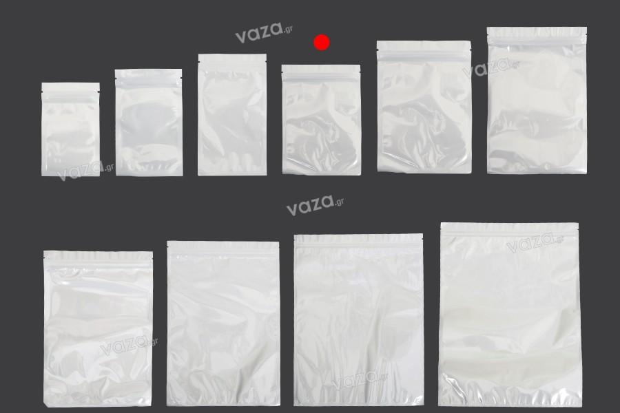 Σακουλάκια πλαστικά 105x150 mm με κλείσιμο zip, λευκή πίσω όψη και διάφανο μπροστά - 100 τμχ